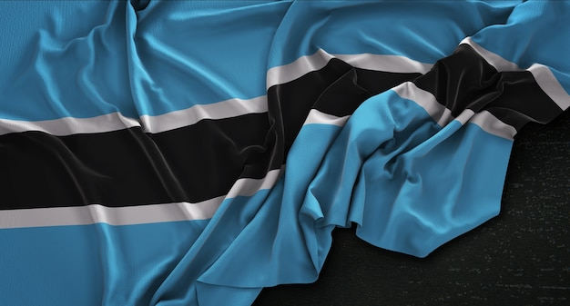 Ботсвана флаг морщинистый на темном фоне 3d render