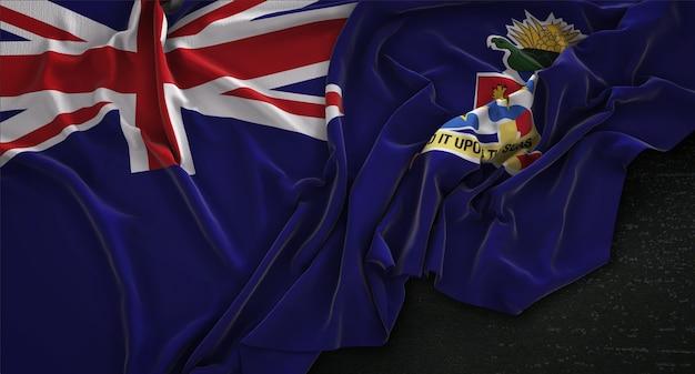 Флаг каймановых островов морщинистый на темном фоне 3d render