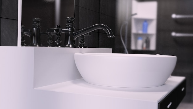 Интерьер ванной комнаты 3d render