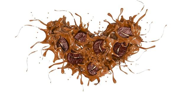 3d render白い背景に抽象的な心のデザインのためにスプラッシュコーヒーとコーヒー豆
