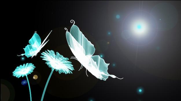 青い蝶、ホタル、花、太陽が背景にワイヤーフレームです。 3d render。技術