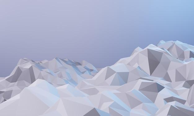 3d 렌더링 된 낮은 폴리 얼음 산 자연보기 그림 추운 환경