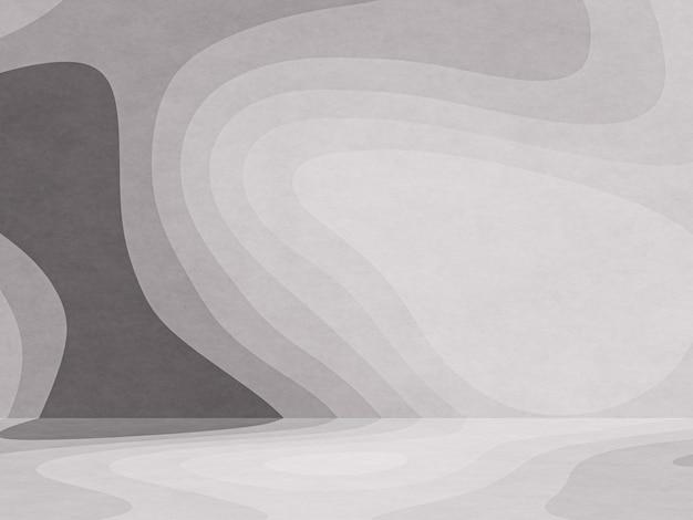 3dレンダリングされた抽象的な黒と白のグラフィック輪郭ペーパーアートの背景