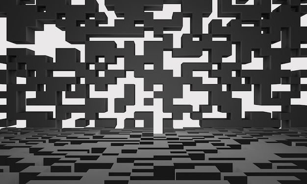 3d rendered abstract black geometric background