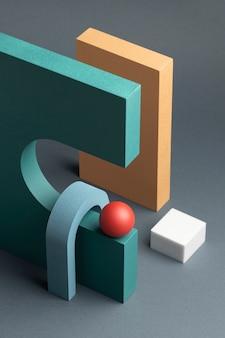 3dレンダリングされた抽象的なデザイン要素の配置