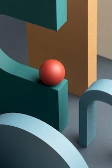 3d визуализация расположения абстрактных элементов дизайна