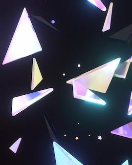 3dレンダリングされた抽象的な光沢のある三角形の壁の芸術