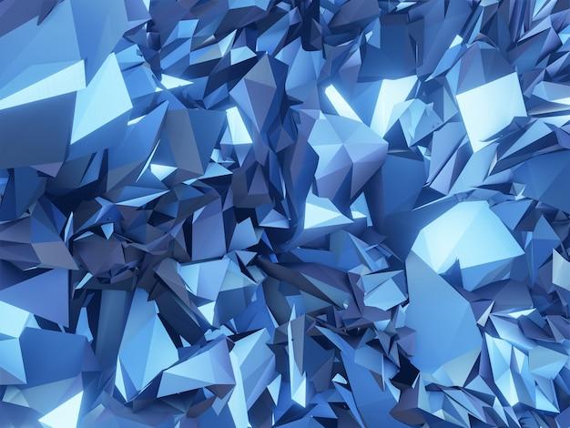 3dレンダリングされた抽象的なメタリックブルーの結晶。 Premium写真