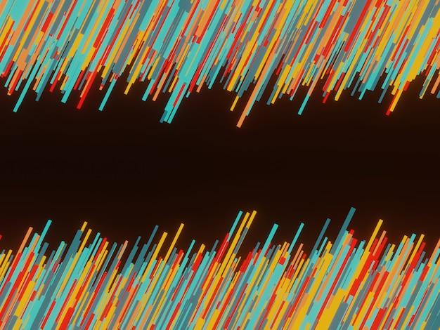 3d 렌더링 검은 색 바탕에 추상 임의의 다채로운 형상 막대.