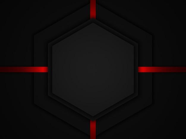 3d 렌더링된 추상 빨간색 제거 및 검정색 배경.