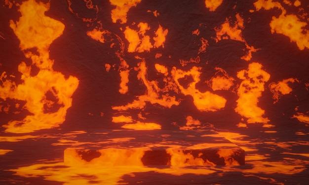 3d 렌더링된 추상 화산 마그마 배경입니다.