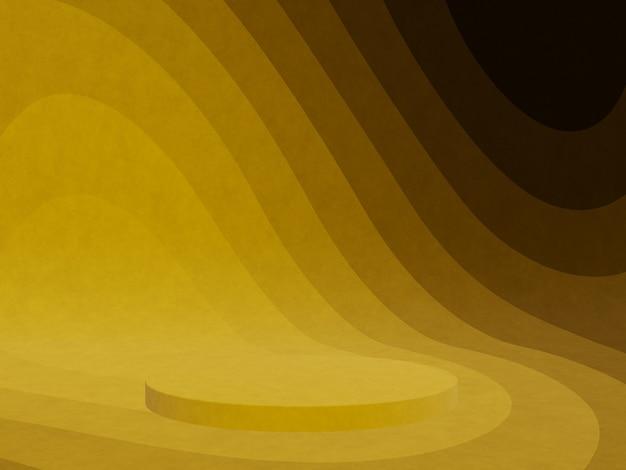 3dレンダリングされた抽象的な黄色のグラフィック輪郭表彰台
