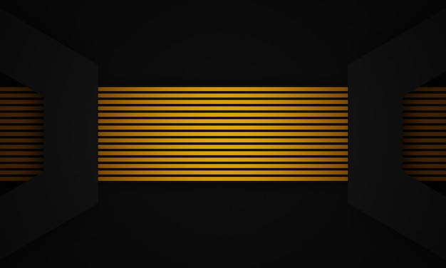 3dレンダリングされた抽象的な黄色のストリップと黒の背景。