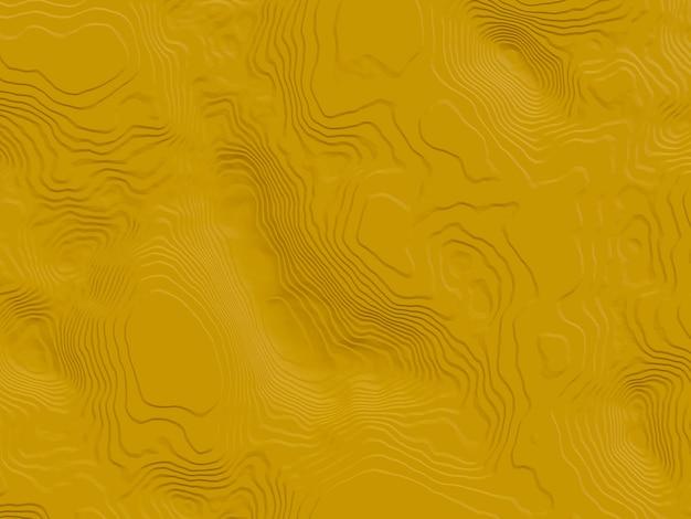 3d визуализированный абстрактный желтый топографический контур.