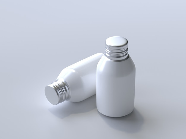 3d rendered aluminum bottle without a label