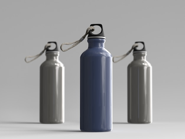 3d rendered aluminum water bottles