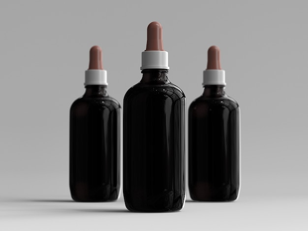 3d rendered amber color large dropper bottles without a label