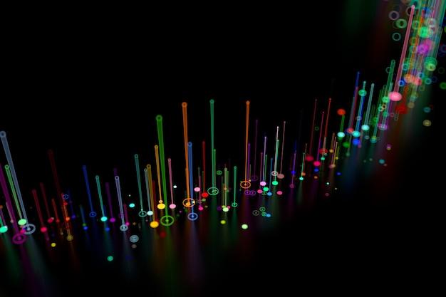 3dレンダリングされた背景。被写界深度でレンダリングされた細い線を上向きに抽象化します。暗い反射面の明るい線。デジタルデータの概念。