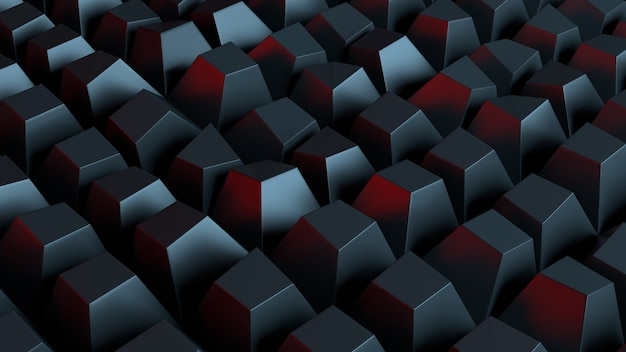 3d rendered background with extrude of primitives on randomly displacement plate