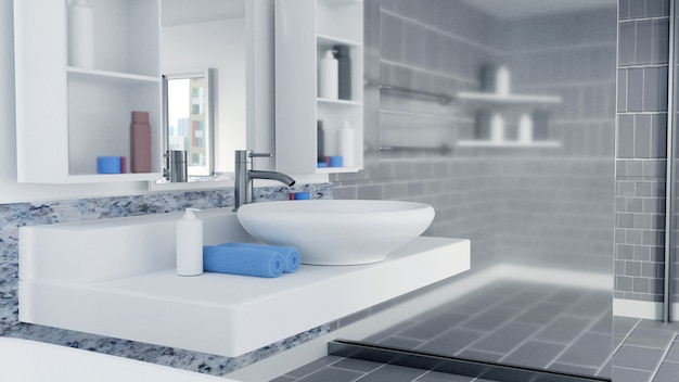 3d rendered bathroom interior design with blue towels