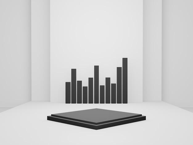 3dレンダリングされた白黒の幾何学的ステージ。
