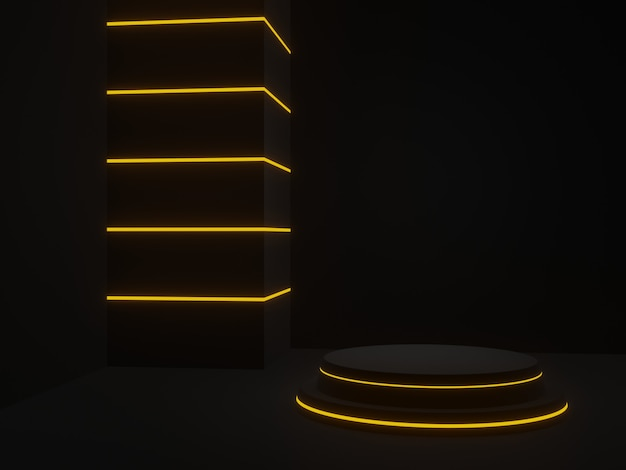 3d는 노란색 네온 불빛과 함께 검은 미래의 연단을 렌더링