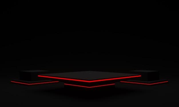 3d 렌더링 빨간색 네온 불빛으로 검은 미래 스탠드