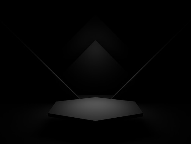 3dレンダリングされた黒い幾何学的表彰台。暗い背景。