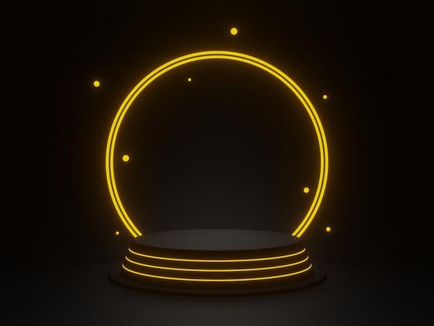 3d 렌더링 황금 네온 빛으로 검은 기하학적 연단 프리미엄 사진
