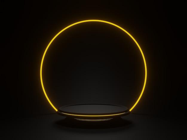 3d-рендеринг черного геометрического подиума с золотым неоновым светом