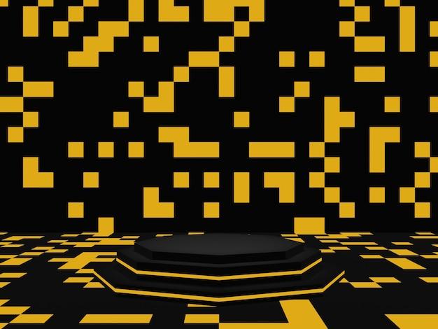 金色のネオンライトで3dレンダリングされた黒い幾何学的な表彰台