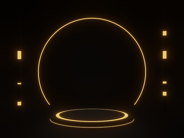 3d 렌더링 황금 네온 빛으로 검은 기하학적 연단