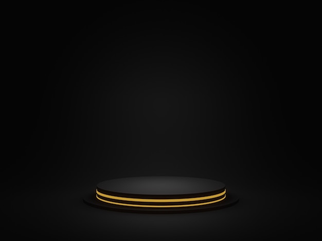 3d rendered black geometric podium with golden neon