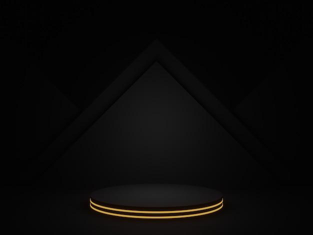 황금 네온 3d 렌더링 검은 기하학적 연단