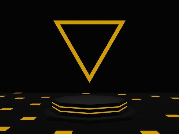 金色のネオンで3dレンダリングされた黒い幾何学的な表彰台