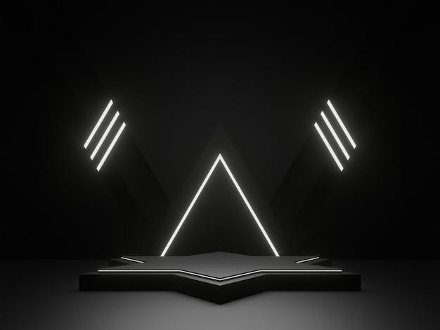 3d 렌더링 흰색 네온 불빛과 함께 검은 기하학적 연단 어두운 과학 무대