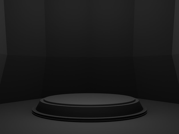 3d 렌더링 검은 기하학적 제품 연단. 어두운 배경.