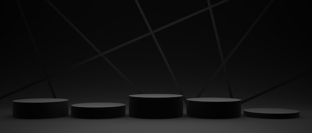 3d 렌더링된 검은색 기하학적 제품 연단입니다. 어두운 배경입니다.