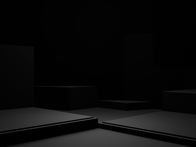 3dレンダリングされた黒い幾何学的製品の表彰台。暗い背景。