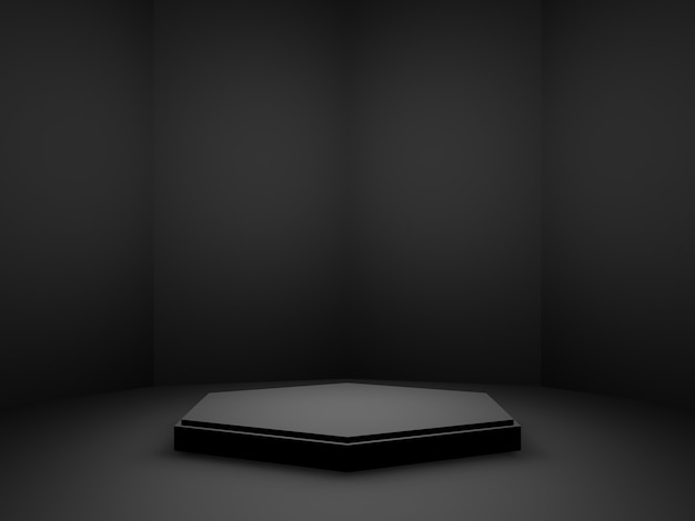3dレンダリングされた黒い幾何学的な製品スタンド。暗い背景。