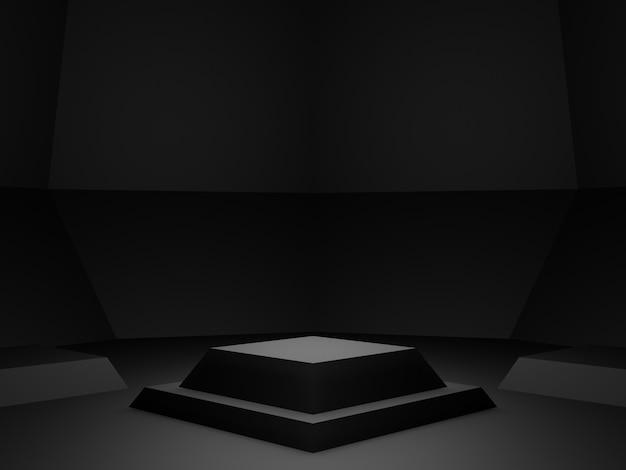 Стенд для продукта с черным геометрическим рисунком 3d темный фон.