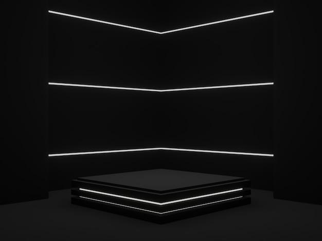 Стенд для продукта с черным геометрическим рисунком 3d темный угловой фон с белым неоновым светом