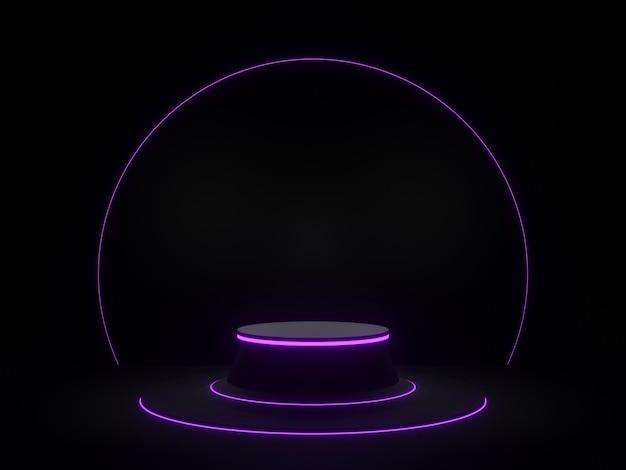보라색 네온 불빛이있는 3d 렌더링 검은 기하학적 제품 스탠드