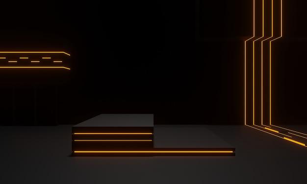 황금 네온 불빛이 있는 3d 렌더링된 검은색 기하학적 무대