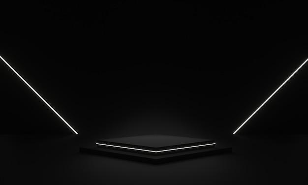 白いネオンライトで3dレンダリングされた黒い幾何学的ステージ