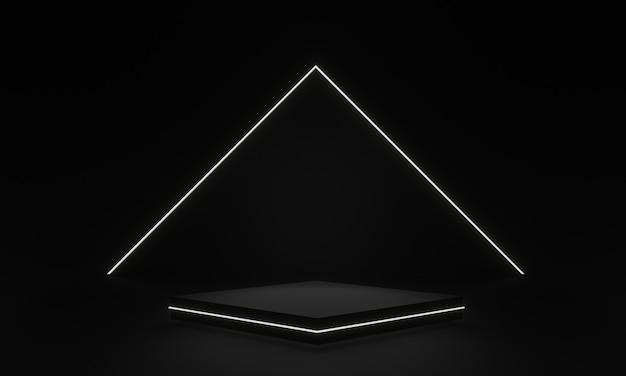 3d визуализация черная геометрическая сцена с белым неоновым светом