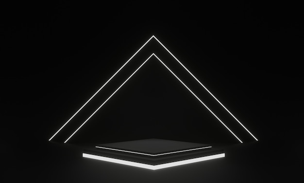 3d rendered black geometric stage with white neon light
