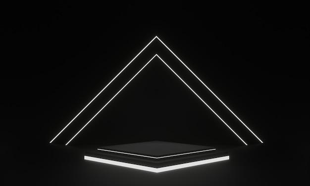 3d는 흰색 네온 불빛과 함께 검은 기하학적 무대를 렌더링