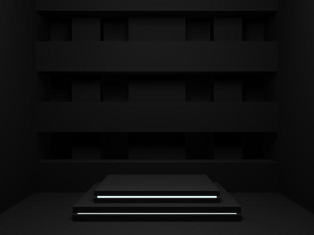 3d rendered black geometric stand mockup. dark room background.