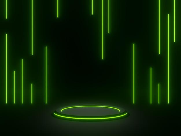3d 렌더링 녹색 네온 빛으로 검은 기하학적 스탠드. 어두운 배경